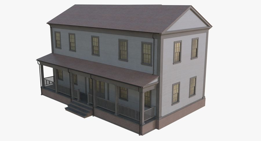 Colonial House 12 royalty-free 3d model - Preview no. 6