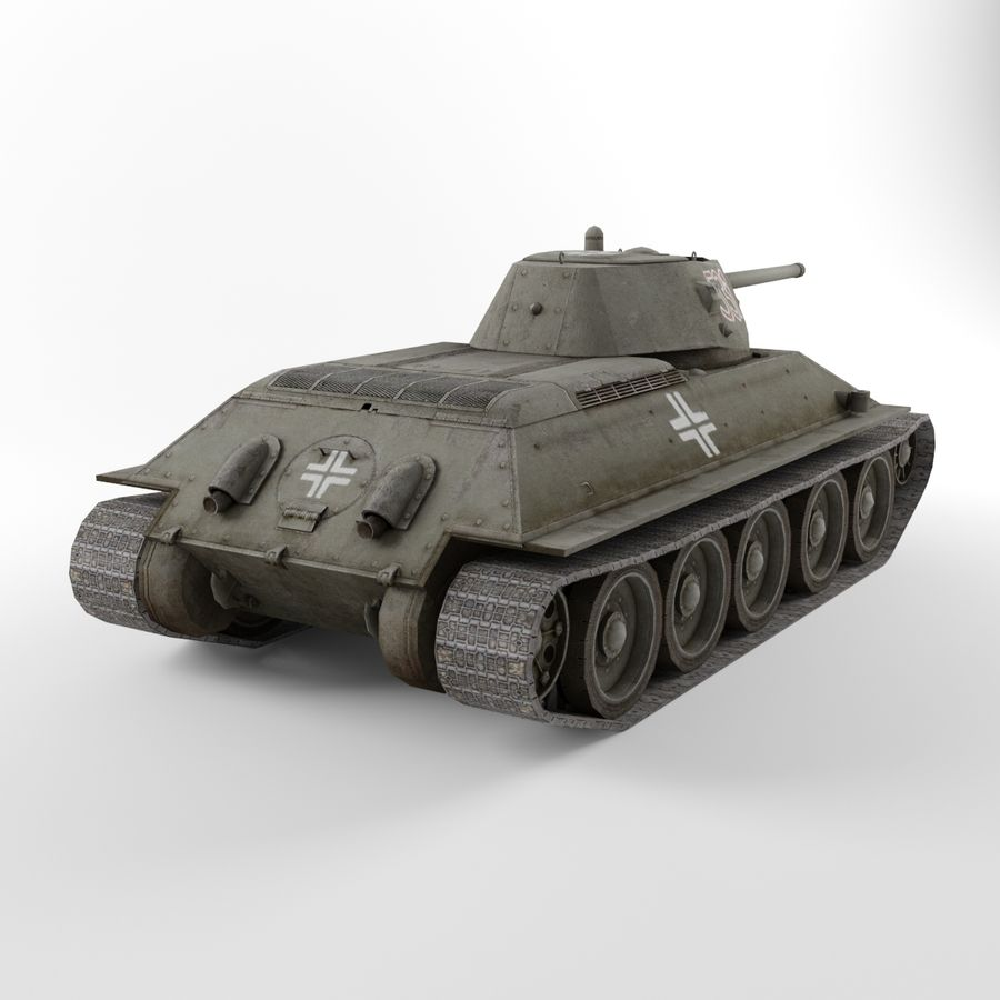 Captured Soviet tank T-34-76 royalty-free 3d model - Preview no. 5