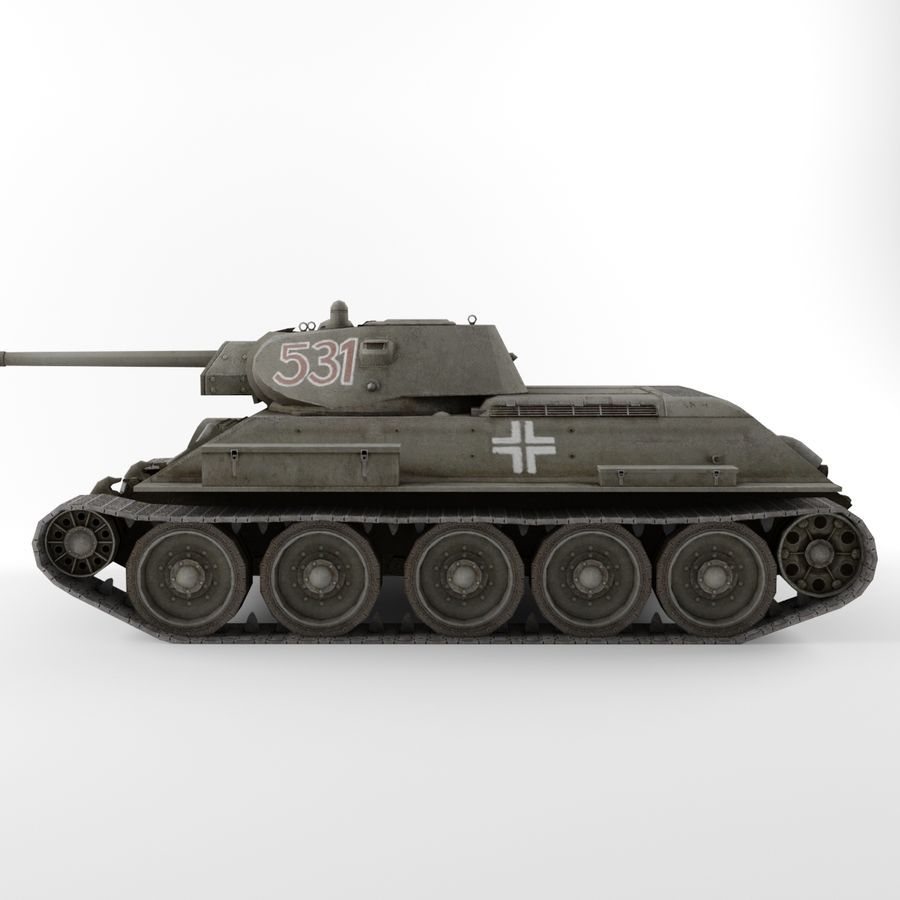 Captured Soviet tank T-34-76 royalty-free 3d model - Preview no. 7