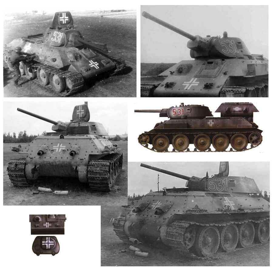 Captured Soviet tank T-34-76 royalty-free 3d model - Preview no. 11