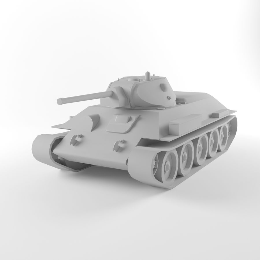 Captured Soviet tank T-34-76 royalty-free 3d model - Preview no. 8