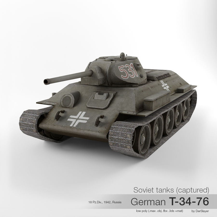 Captured Soviet tank T-34-76 royalty-free 3d model - Preview no. 1