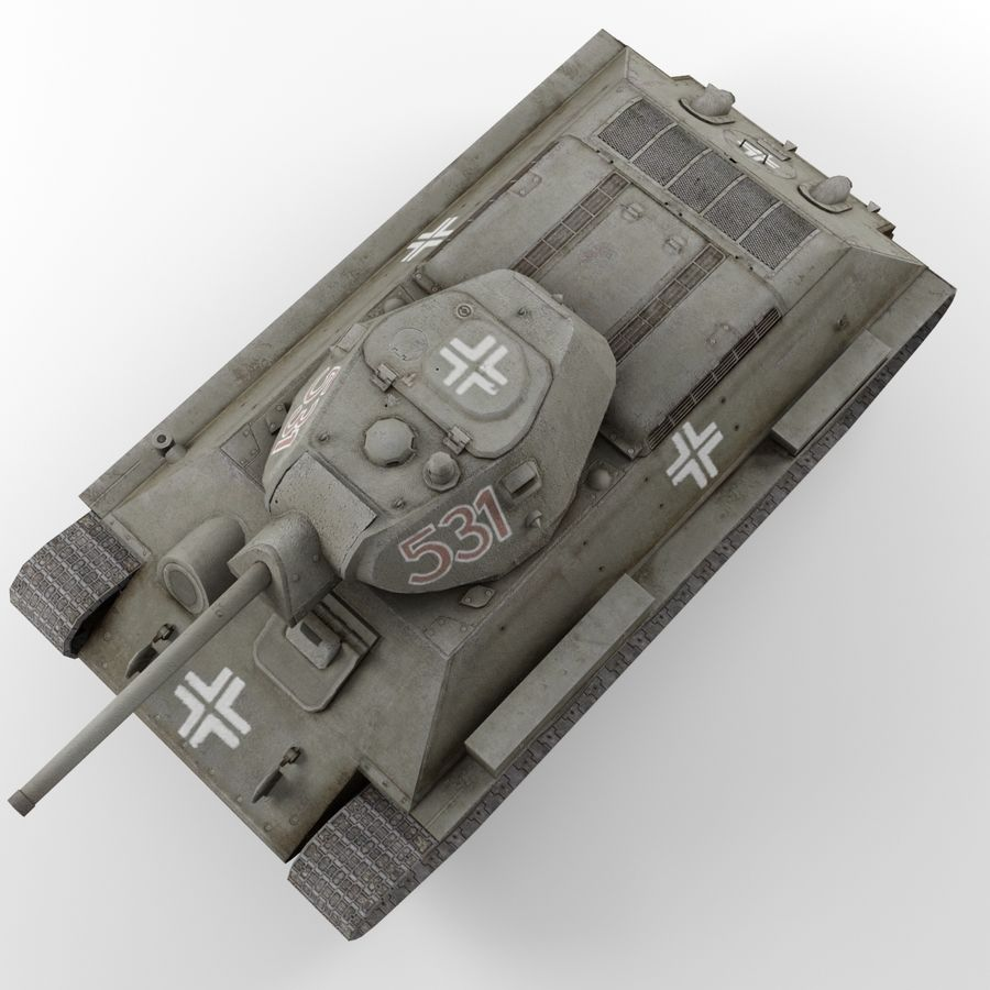 Captured Soviet tank T-34-76 royalty-free 3d model - Preview no. 6