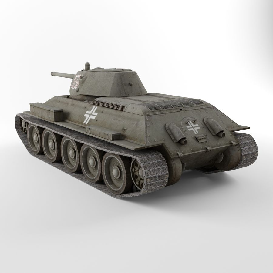 Captured Soviet tank T-34-76 royalty-free 3d model - Preview no. 3
