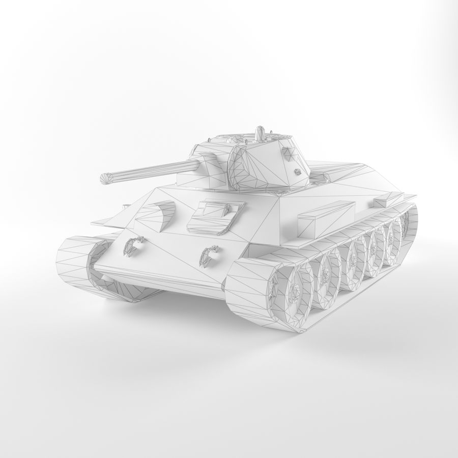 Captured Soviet tank T-34-76 royalty-free 3d model - Preview no. 9