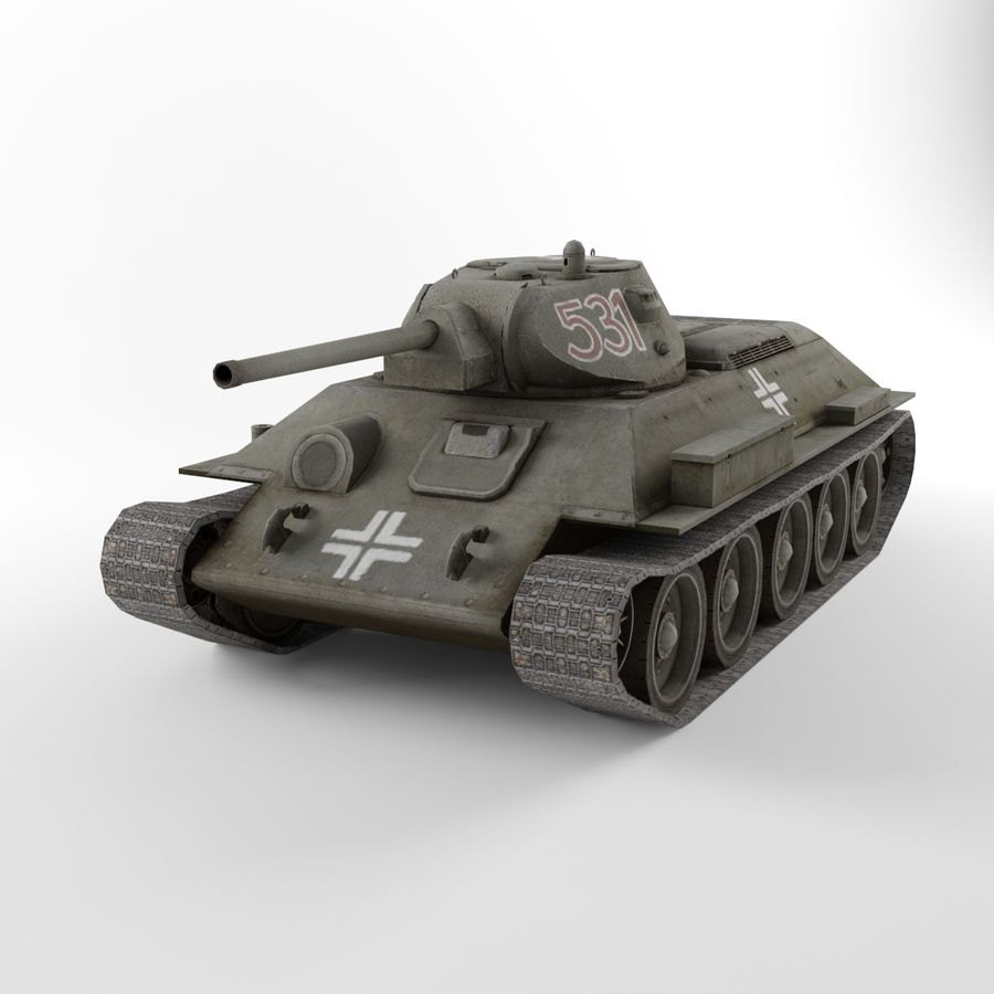 Captured Soviet tank T-34-76 royalty-free 3d model - Preview no. 2