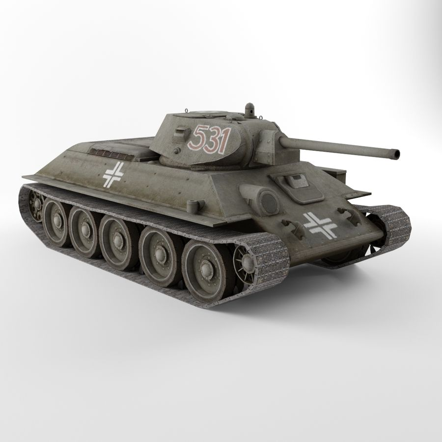 Captured Soviet tank T-34-76 royalty-free 3d model - Preview no. 4