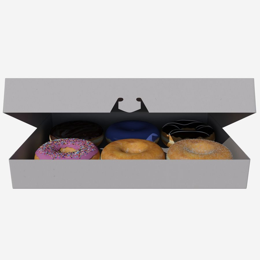 Box of Donuts royalty-free 3d model - Preview no. 1