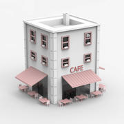 Minimal Building with Cafe shop 3d model