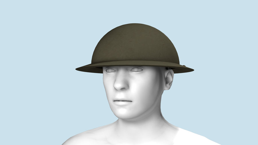 Brodie Helmet (WW1) royalty-free 3d model - Preview no. 3