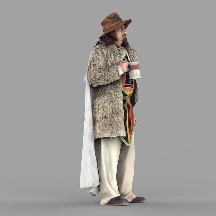 Man in hat royalty-free 3d model - Preview no. 7