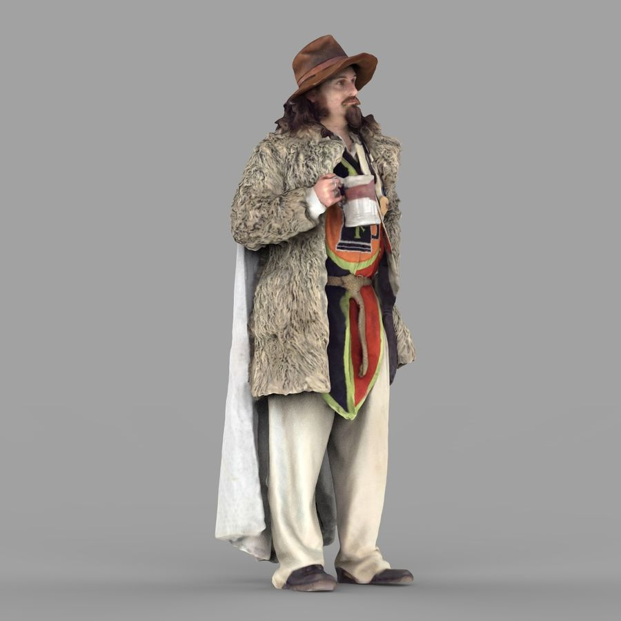 Man in hat royalty-free 3d model - Preview no. 8