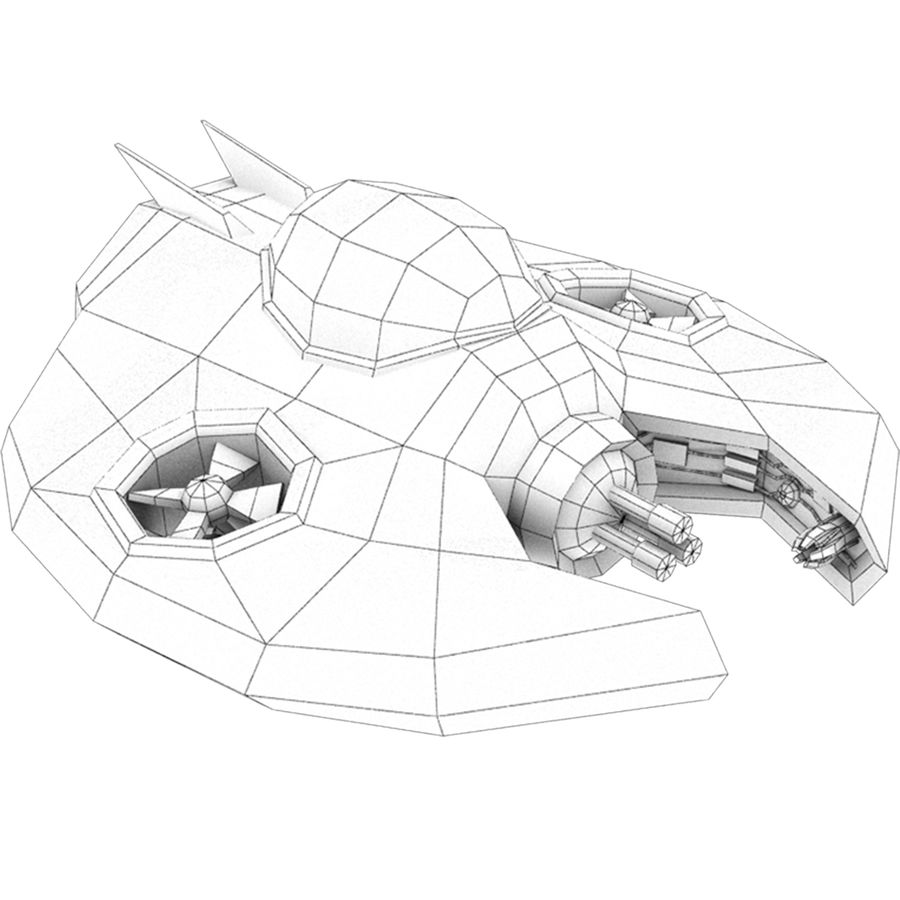 Spiel Ready Space Ship royalty-free 3d model - Preview no. 3