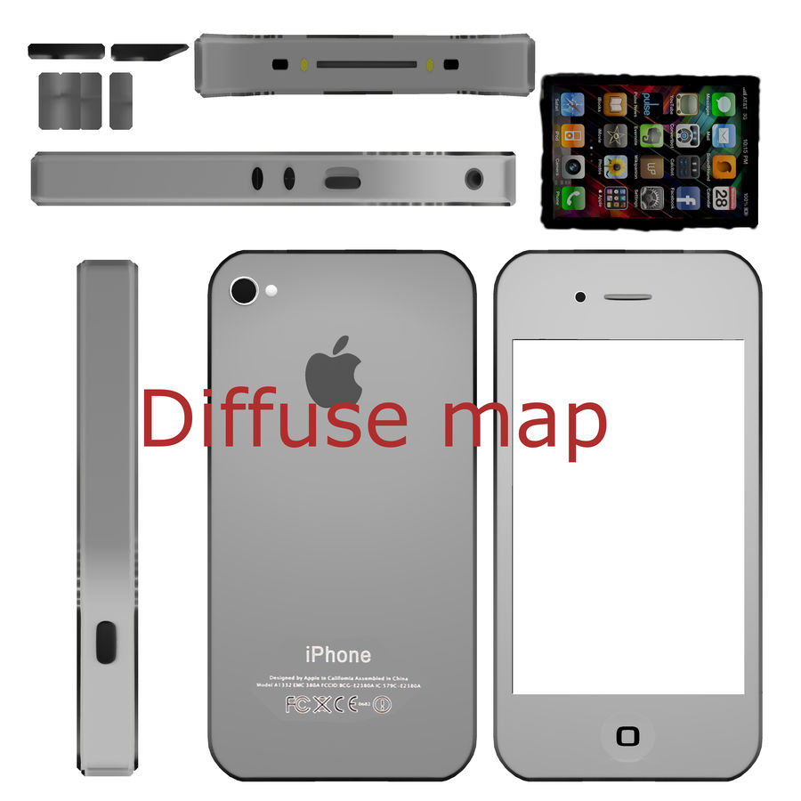 Apple iPhone 4 royalty-free 3d model - Preview no. 10