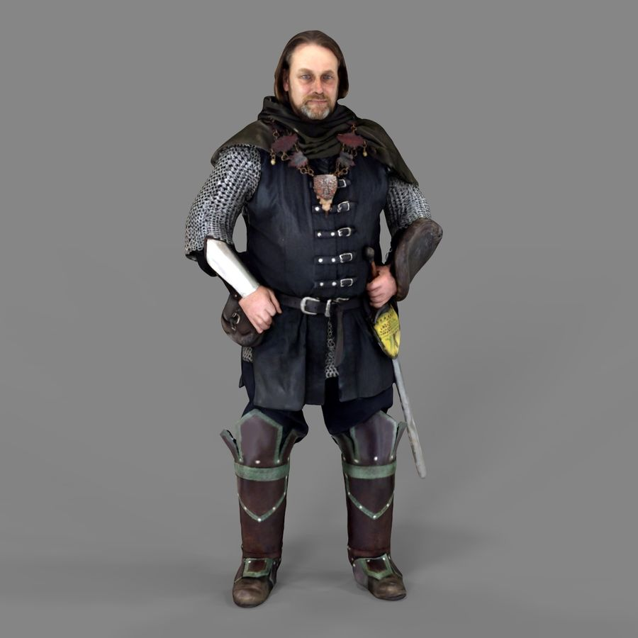Medival knight royalty-free 3d model - Preview no. 10