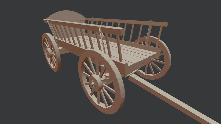 Wooden Cart 3D royalty-free 3d model - Preview no. 12