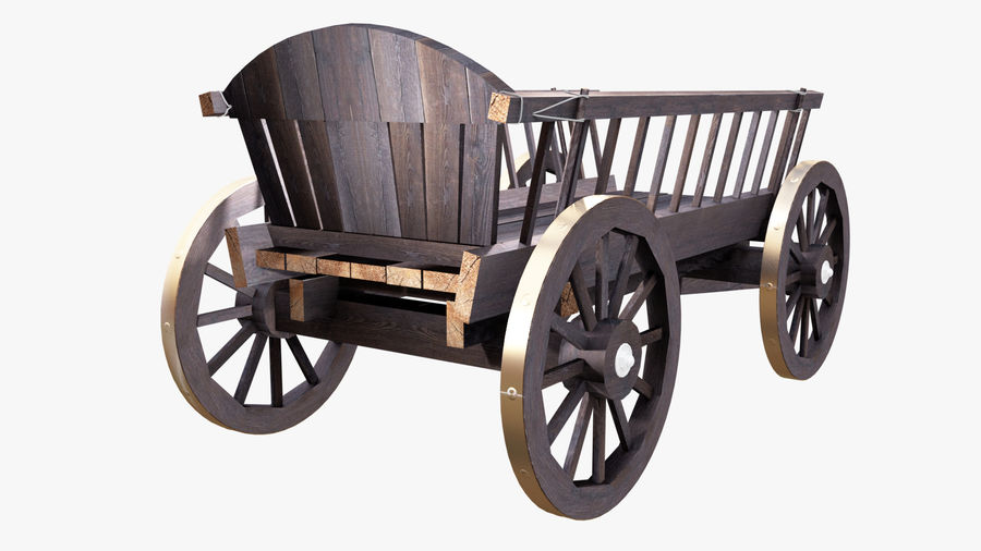 Wooden Cart 3D royalty-free 3d model - Preview no. 6
