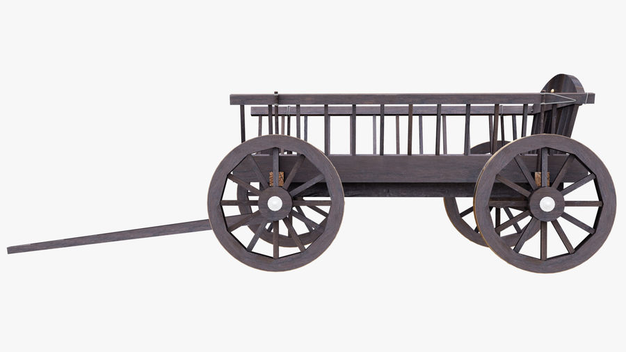Wooden Cart 3D royalty-free 3d model - Preview no. 9