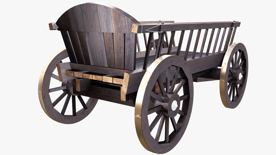 Wooden Cart 3D royalty-free 3d model - Preview no. 4