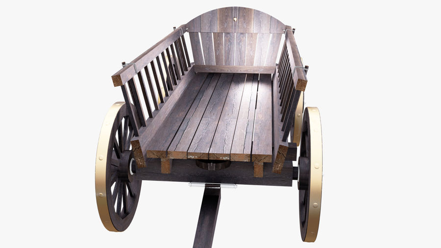 Wooden Cart 3D royalty-free 3d model - Preview no. 5