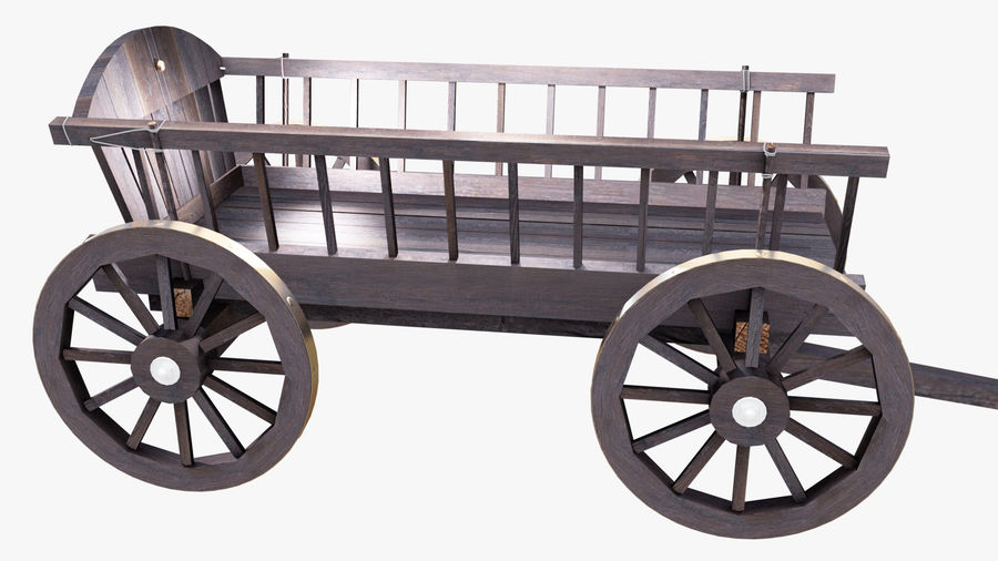 Wooden Cart 3D royalty-free 3d model - Preview no. 7