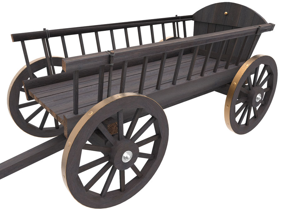 Wooden Cart 3D royalty-free 3d model - Preview no. 2
