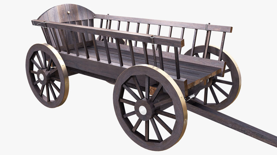 Wooden Cart 3D royalty-free 3d model - Preview no. 3