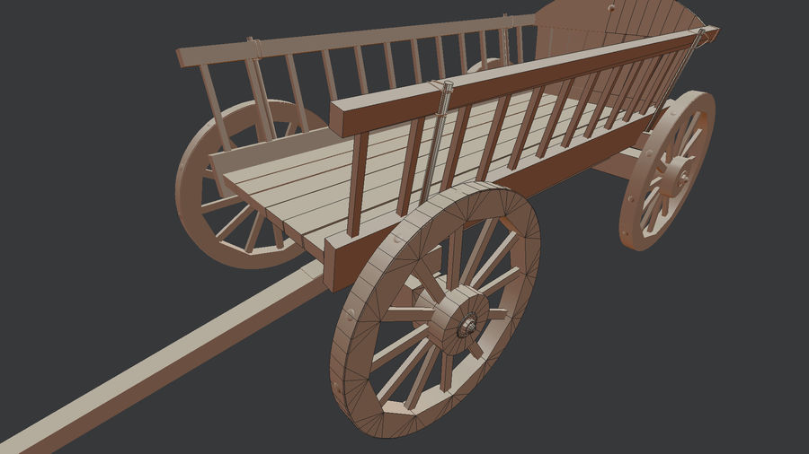 Wooden Cart 3D royalty-free 3d model - Preview no. 11