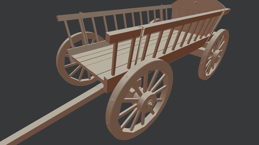 Wooden Cart 3D royalty-free 3d model - Preview no. 10