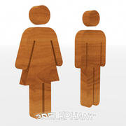 Дверные знаки ванной 3d model