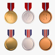 Medal Awards Collection - Gold Silver Bronze Trophies(1) 3d model