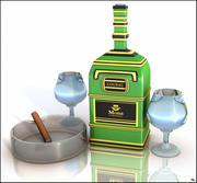 Cognac Bottle and Glasses 3d model