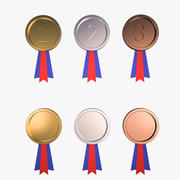 Medal Awards Collection - Gold Silver Bronze Trophies 3d model