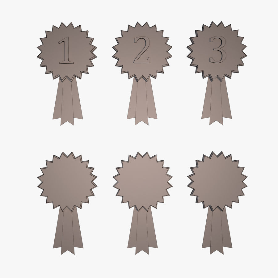 Medal Awards Collection -Star Gold Silver Bronze Trophies royalty-free 3d model - Preview no. 5
