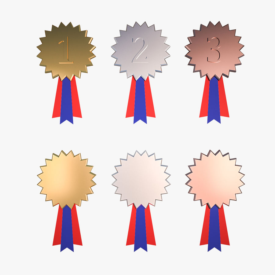Medal Awards Collection -Star Gold Silver Bronze Trophies royalty-free 3d model - Preview no. 1