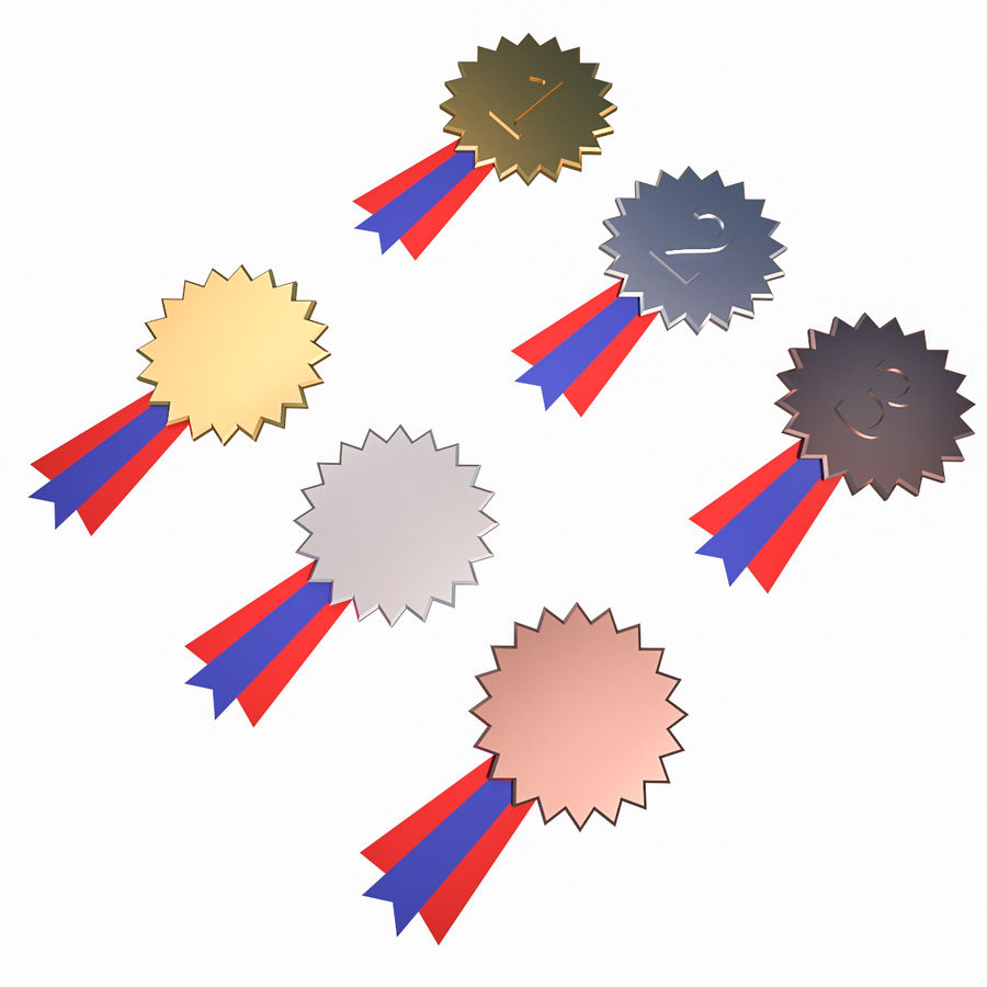 Medal Awards Collection -Star Gold Silver Bronze Trophies royalty-free 3d model - Preview no. 2