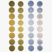Coin Collection: Gold & Silver - Numbers & Signs (For Games) 3d model