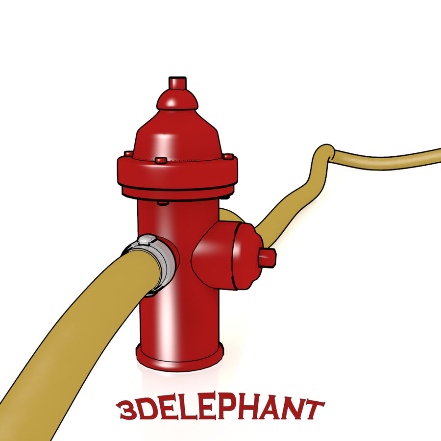 Toon Fire Hydrant royalty-free 3d model - Preview no. 4