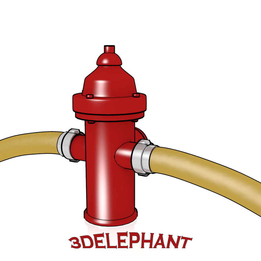 Toon Fire Hydrant royalty-free 3d model - Preview no. 3