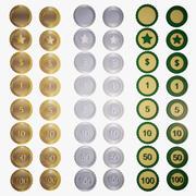 Muntverzameling met texturen - cijfers en tekens (voor games) 3d model