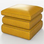 Pufe de couro amarelo 3d model