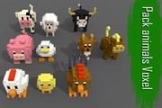 Pack 10 Voxel Farm Animals low-poly 3d model