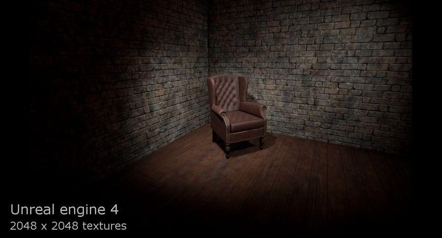 扶手椅棕色 royalty-free 3d model - Preview no. 14