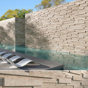 3D Travertine Stacked Stone Wall 3d model