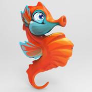 мультфильм морской конек 3d model