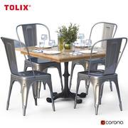 Ensemble de salle à manger et chaise tolix 3d model