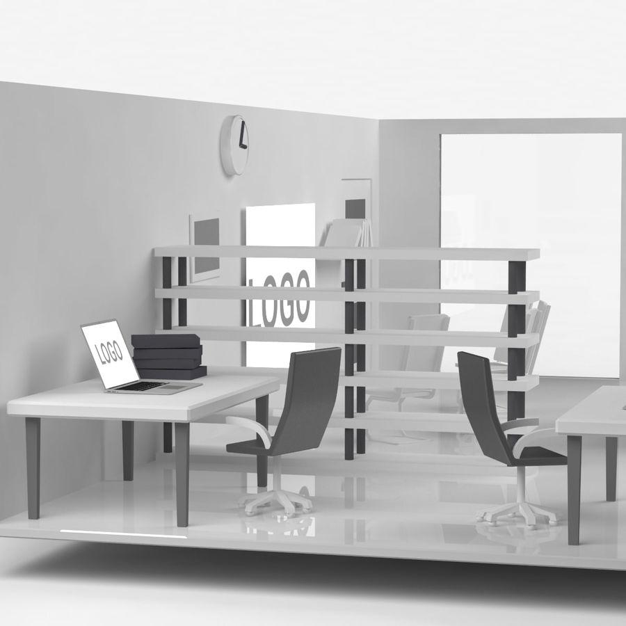 kontor låg poly scen royalty-free 3d model - Preview no. 5