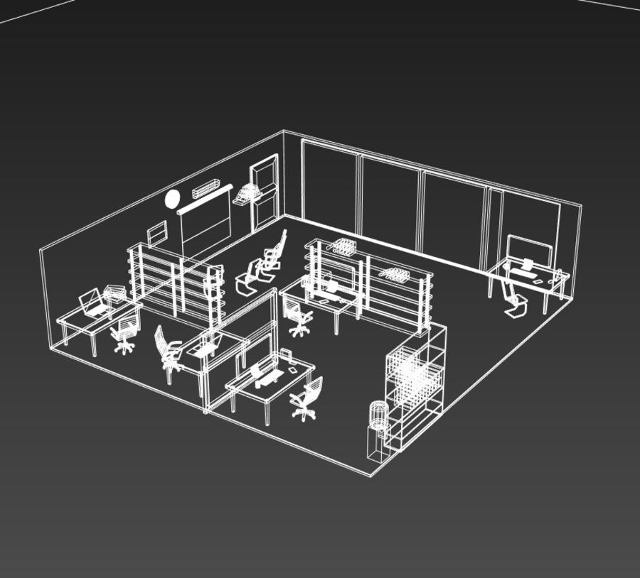 kontor låg poly scen royalty-free 3d model - Preview no. 7