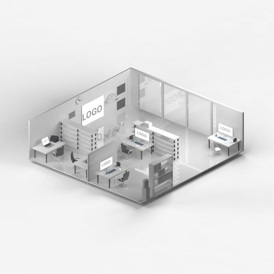 kontor låg poly scen royalty-free 3d model - Preview no. 3