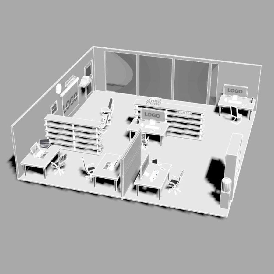 kontor låg poly scen royalty-free 3d model - Preview no. 8